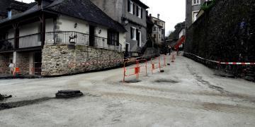 Avenue du Jardin Public (partie basse) - Pose de la grave ciment (23 janvier 2018)