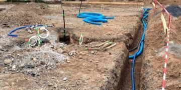 15 juin 2018 : Mise en œuvre du réseau d'alimentation du miroir d'eau N°1 depuis le local technique