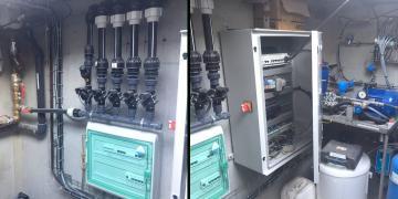 06 juillet 2018 : Installation du système d'arrosage et de l'armoire de commande dans le local technique