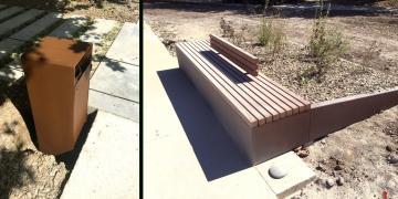11 septembre 2018 : Pose du mobilier urbain : corbeille (à gauche) et banc jardinière (à droite)
